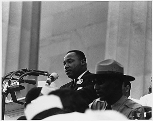 Martin Luther King Jr. speaking to crowd