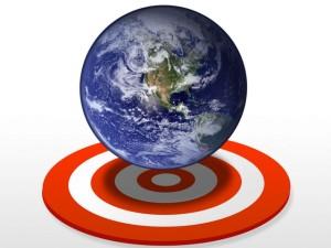 globe with target circle beneath